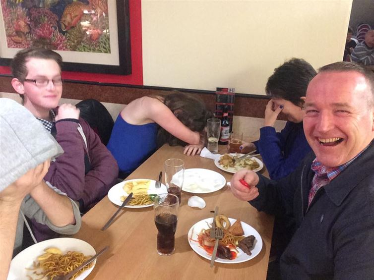 1. This dad who decided to use his new selfie stick at dinner.