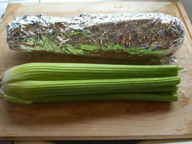 3. Store celery, lettuce, and broccoli in tinfoil to keep it crisp longer.